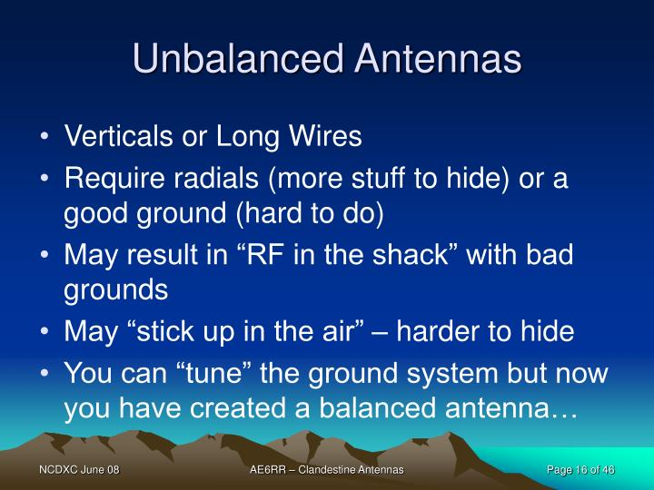 Unbalanced Antennas