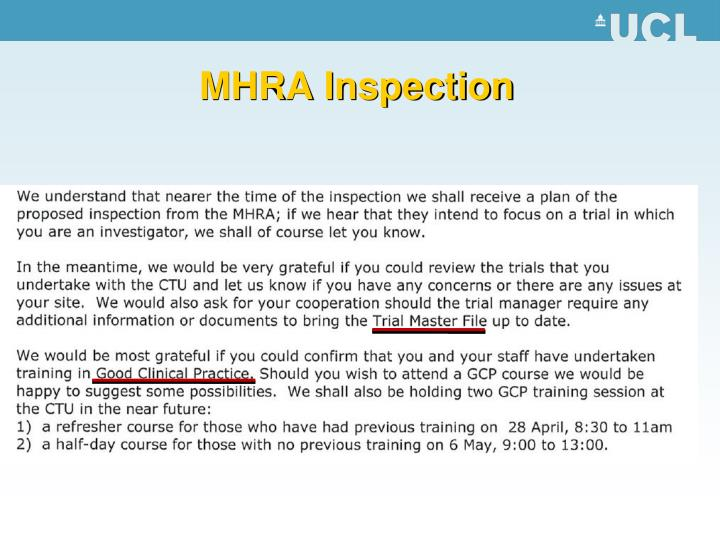 MHRA Inspection