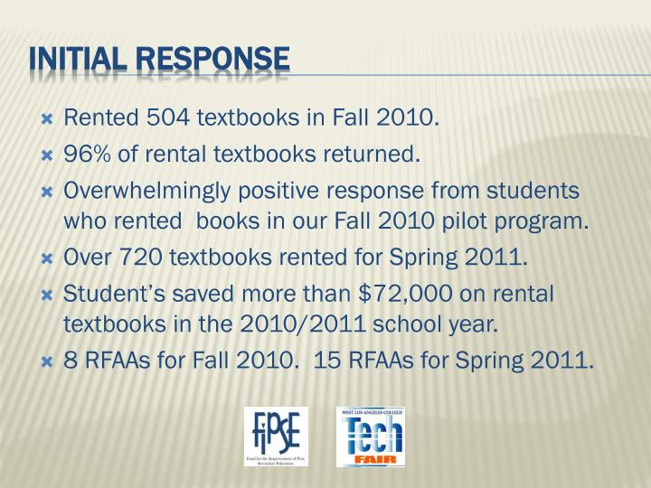 Rented 504 textbooks in Fall 2010.