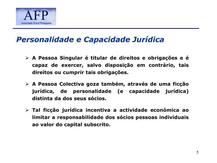 Personalidade e Capacidade Jurídica