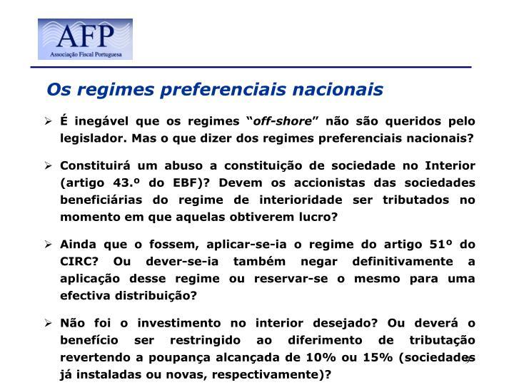 Os regimes preferenciais nacionais