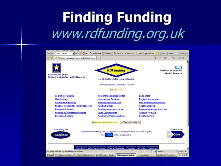 Finding funding www rdfunding org uk