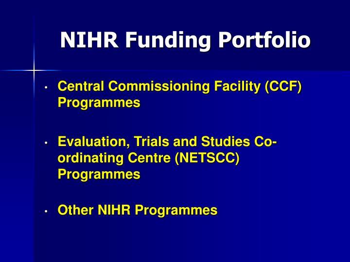 NIHR Funding Portfolio