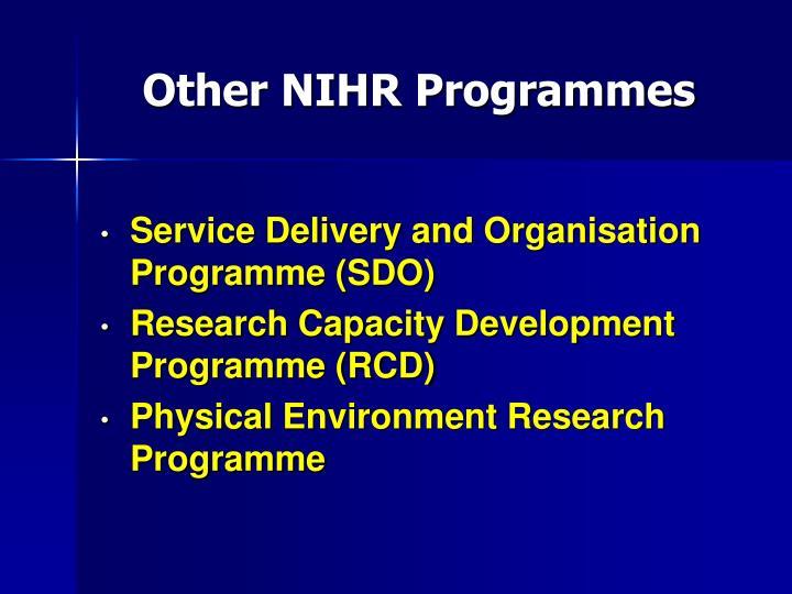 Other NIHR Programmes