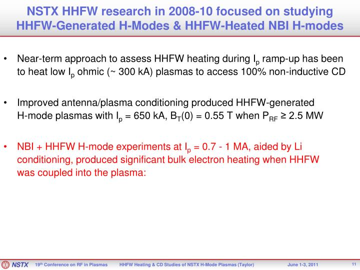 NSTX HHFW research in 2008-10 focused on studying