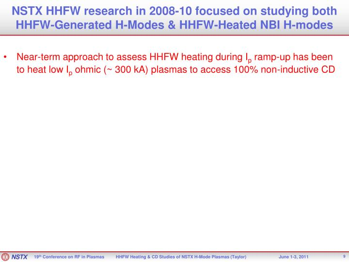 NSTX HHFW research in 2008-10 focused on studying both