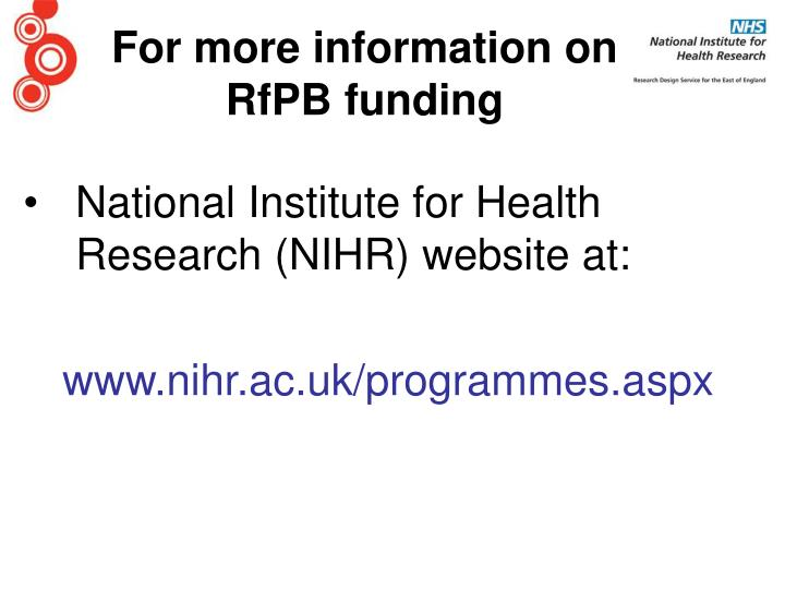 National Institute for Health Research (NIHR) website at: