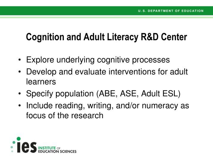 Cognition and Adult Literacy R&D Center