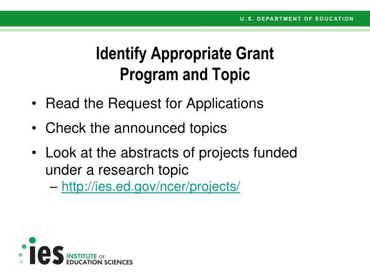 Identify Appropriate Grant
