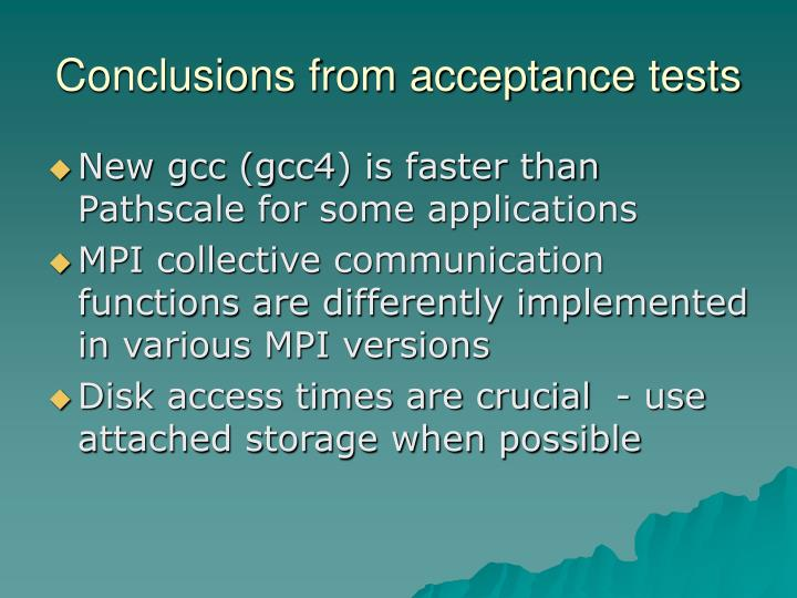 Conclusions from acceptance tests