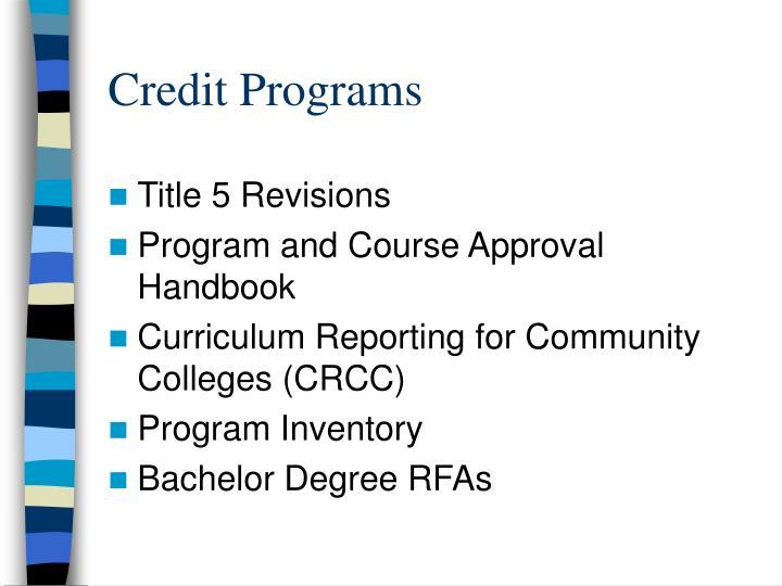 Credit Programs
