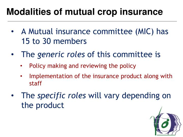 Modalities of mutual crop insurance