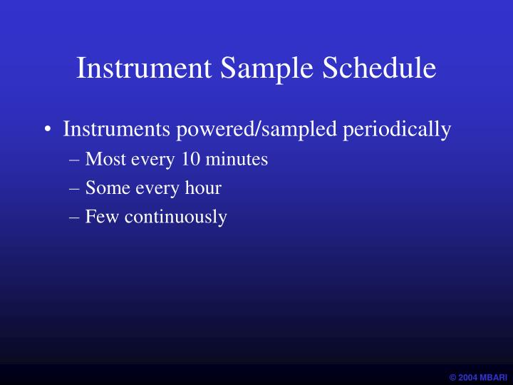 Instrument Sample Schedule