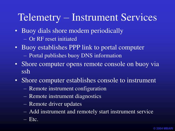 Telemetry – Instrument Services