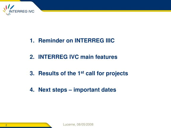 Reminder on INTERREG IIIC