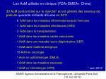 les acm utilis s en clinique fda emea chine