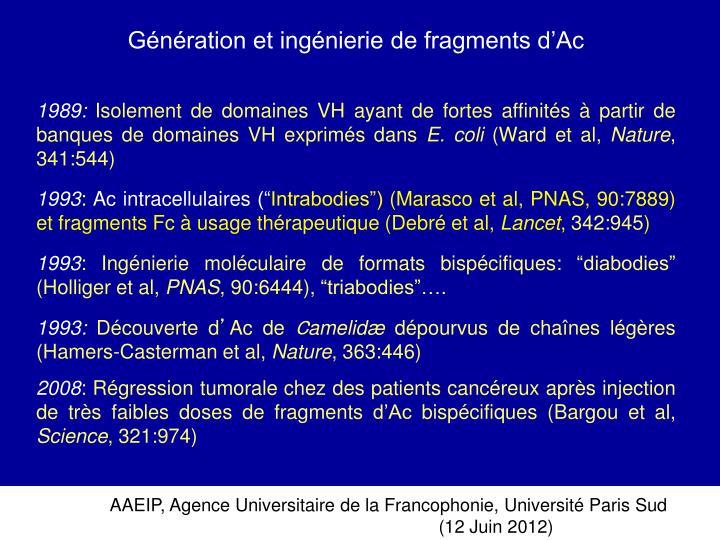 Génération et ingénierie de fragments d'Ac