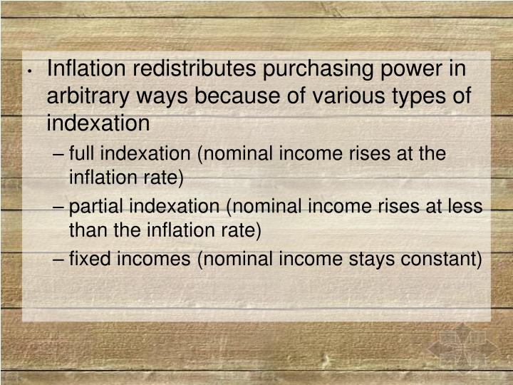 Inflation redistributes purchasing power in arbitrary ways because of various types of indexation