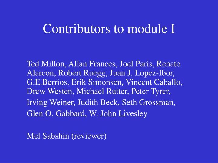 Contributors to module I