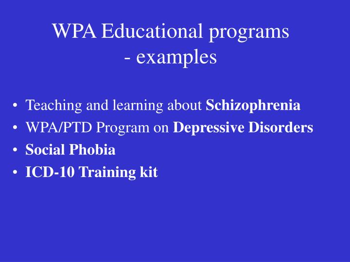 Wpa educational programs examples