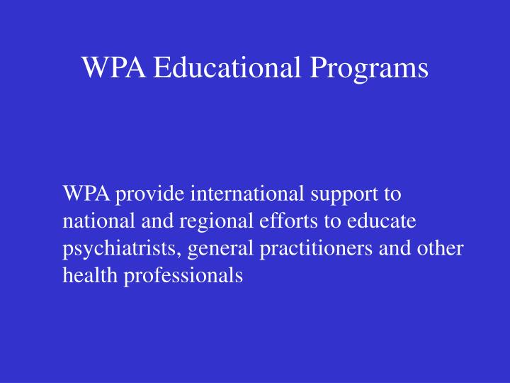 Wpa educational programs
