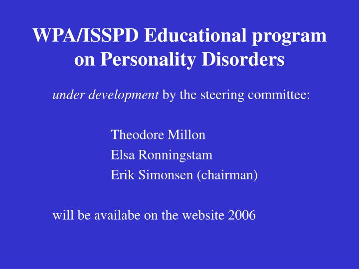 WPA/ISSPD Educational program on Personality Disorders