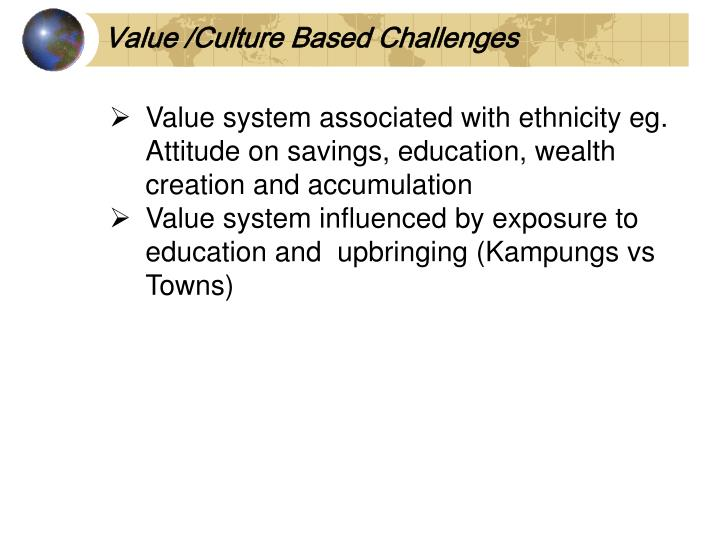 Value /Culture Based Challenges