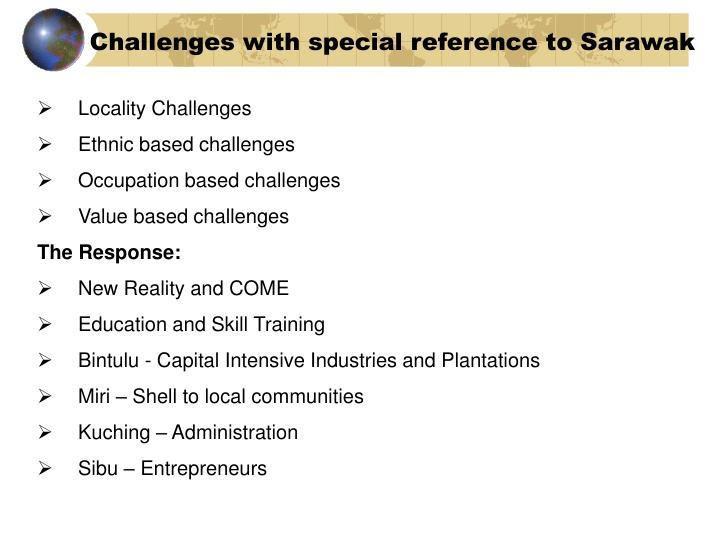 Challenges with special reference to Sarawak