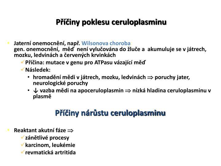 Příčiny poklesu ceruloplasminu