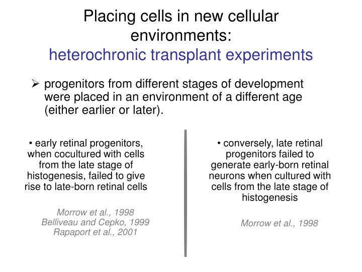 Placing cells in new cellular environments: