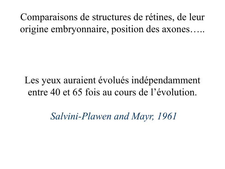 Comparaisons de structures de rétines, de leur origine embryonnaire, position des axones…..