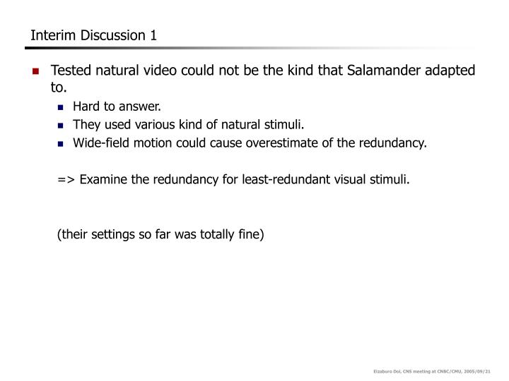Interim Discussion 1