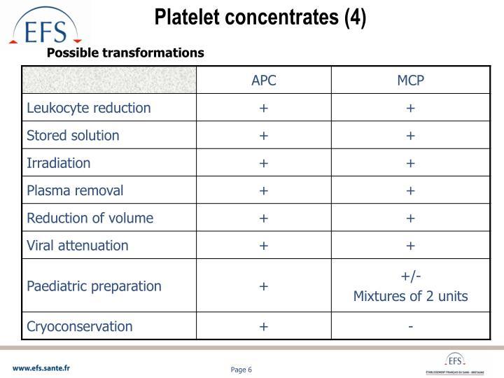 Platelet concentrates (4)