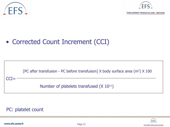 Corrected Count Increment (CCI)