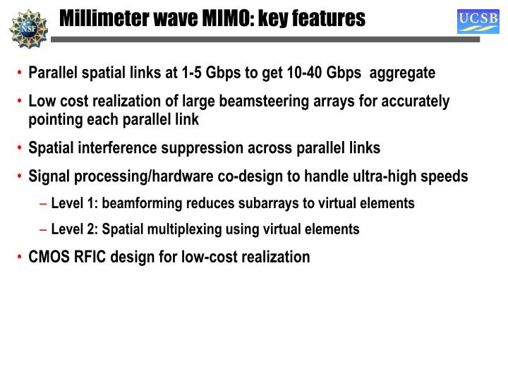 Millimeter wave MIMO: key features
