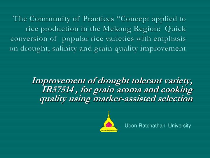 "The Community of Practices ""Concept applied to rice production in the Mekong Region:  Quick conver..."