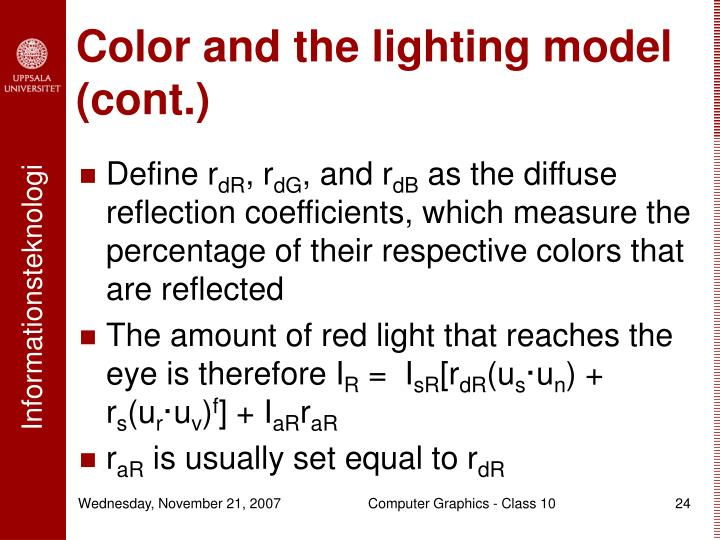 Color and the lighting model (cont.)
