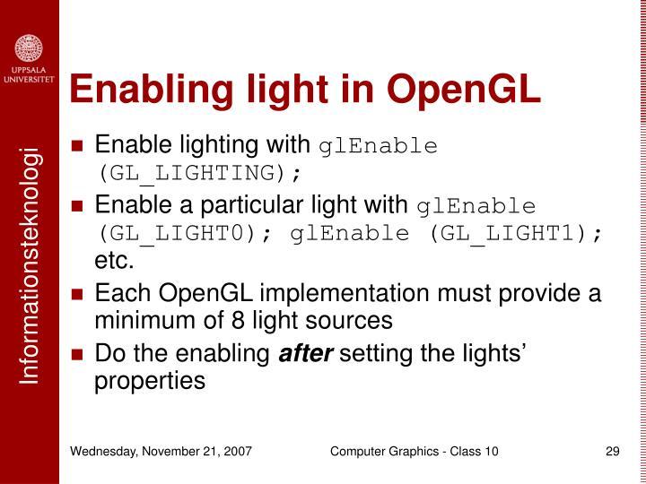 Enabling light in OpenGL