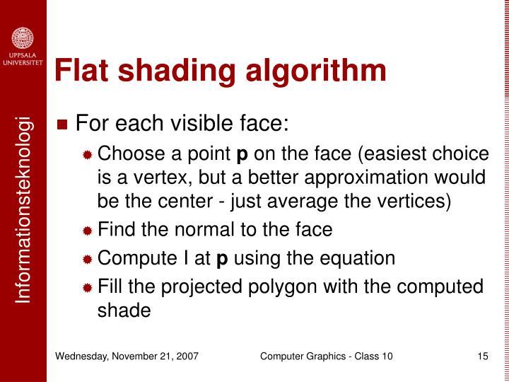 Flat shading algorithm