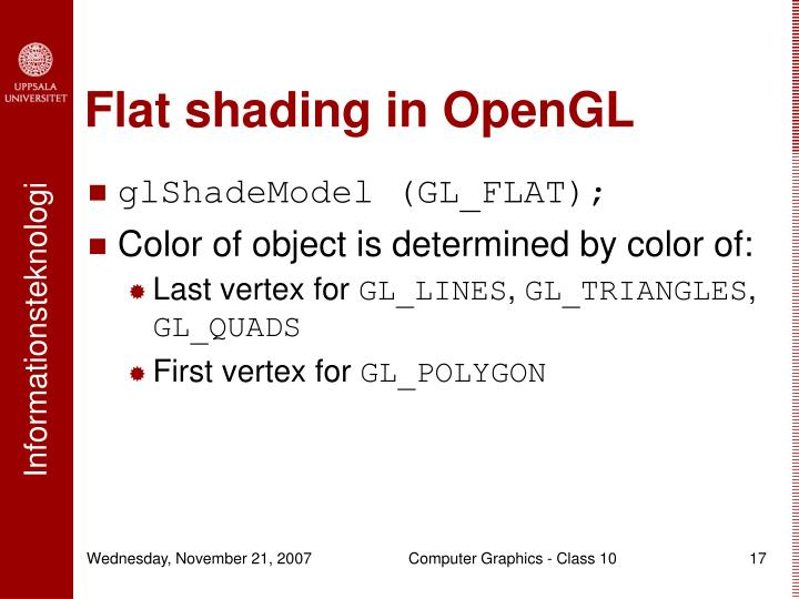 Flat shading in OpenGL