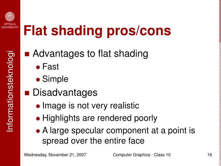 Flat shading pros/cons