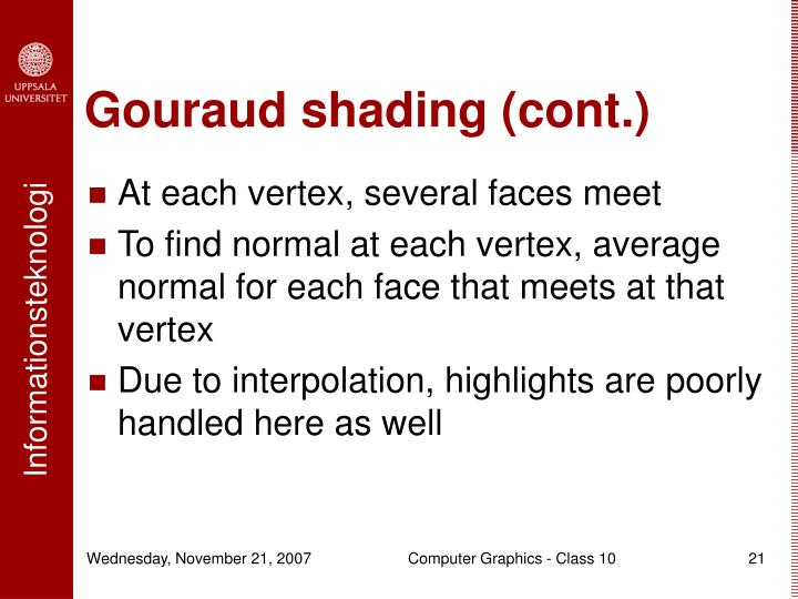 Gouraud shading (cont.)