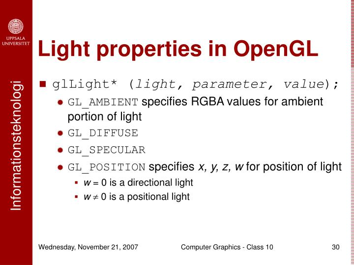 Light properties in OpenGL