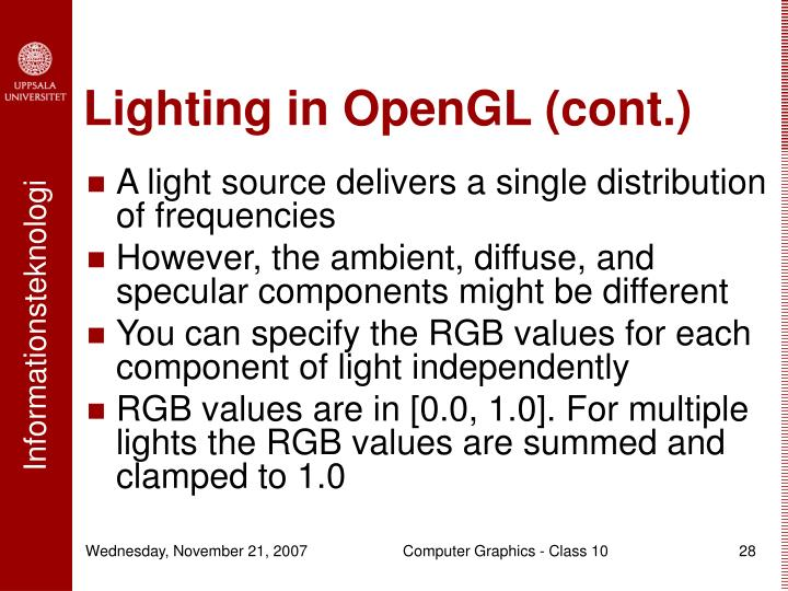 Lighting in OpenGL (cont.)