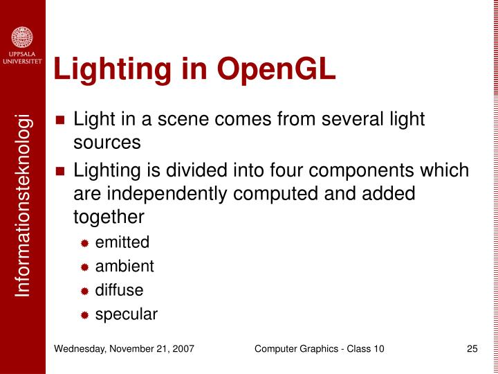 Lighting in OpenGL