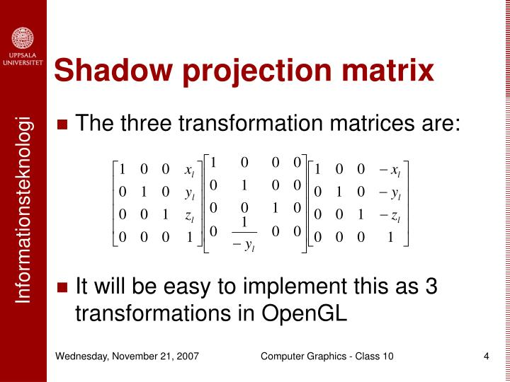 Shadow projection matrix