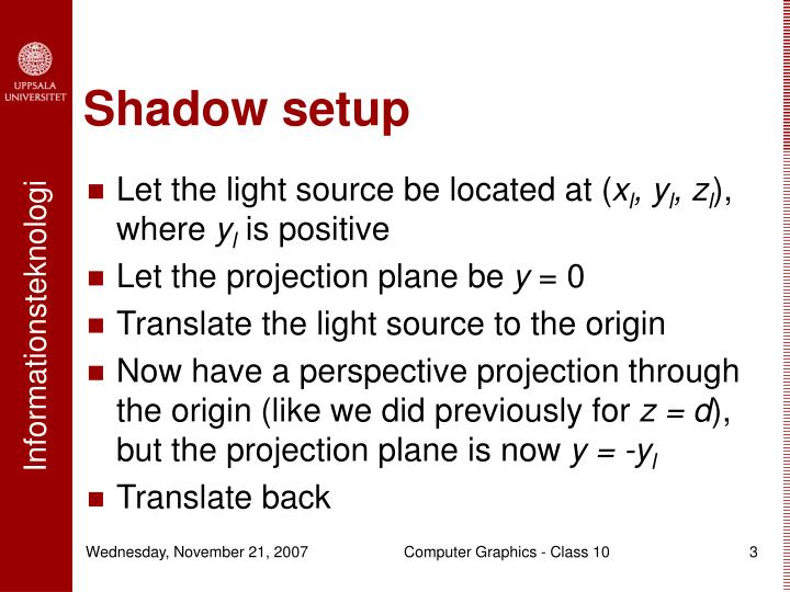 Shadow setup
