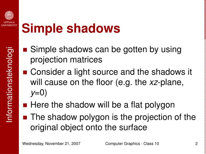 Simple shadows