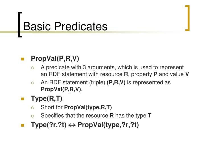 Basic Predicates