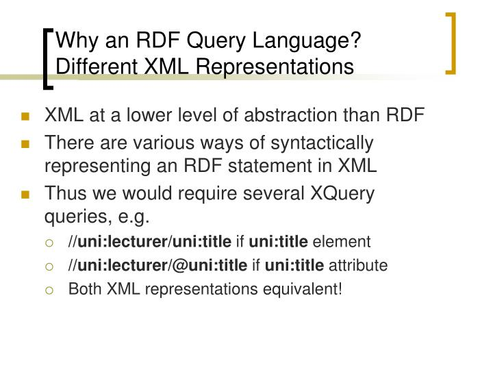 Why an RDF Query Language?